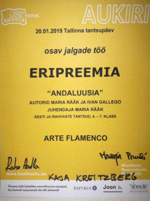 Stuudio Arteflamenco Noorterühma eripreemia